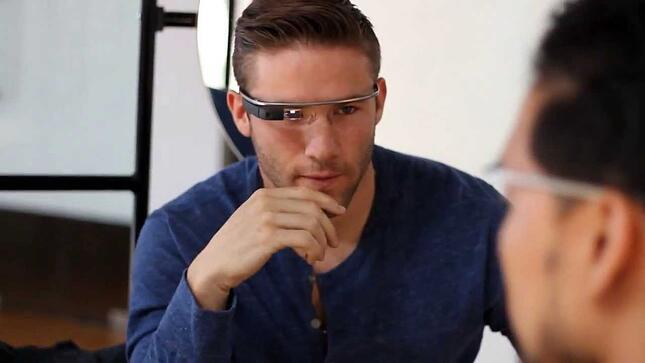 Julian Edelmen wearing Google Glass