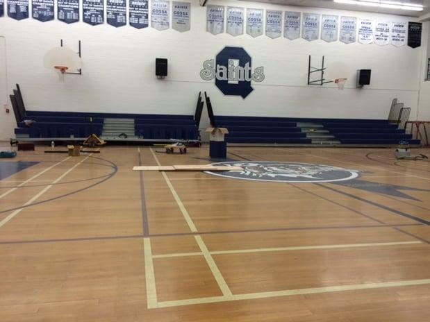 telescopic-bleacher-seating-installation-Quinte-Secondary-School