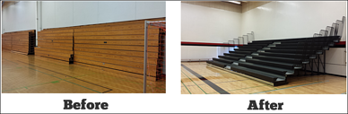 retractable-bleacher-replacement-before-and-after-bayside-secondary-school